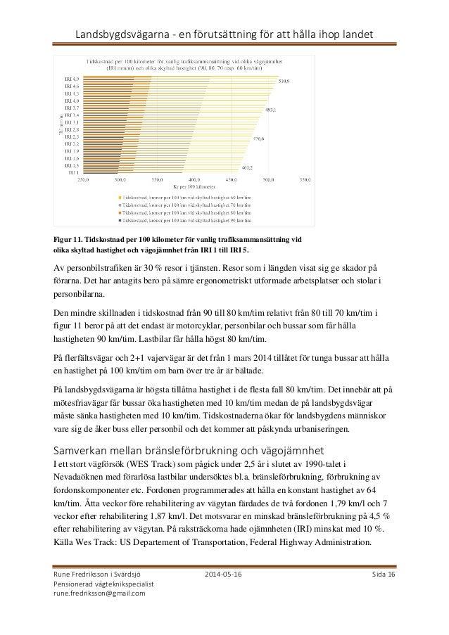 Landsbygdsvägarna - en förutsättning för att hålla ihop landet Rune Fredriksson i Svärdsjö 2014-05-16 Sida 16 Pensionerad ...