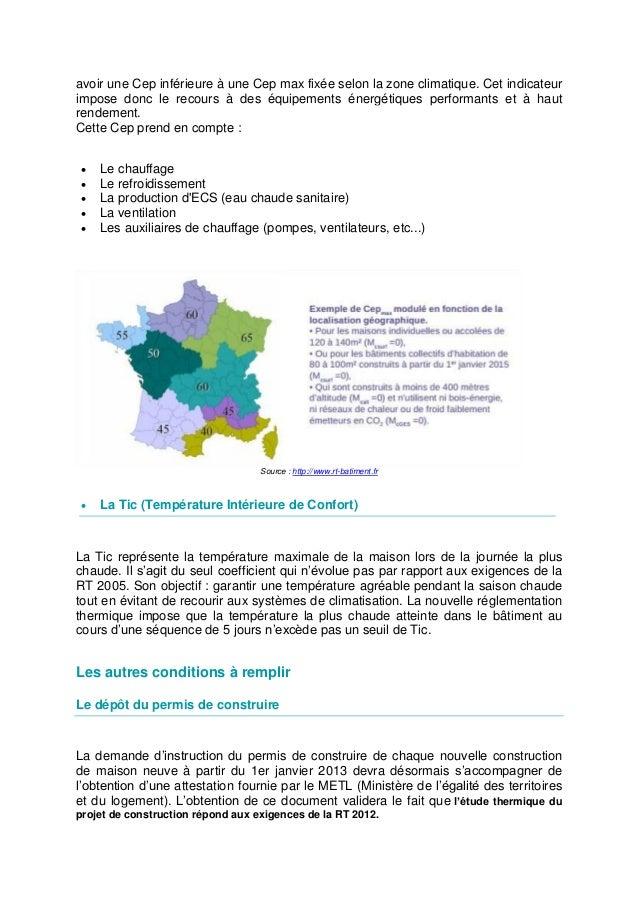 Rt 2012 obligations et d marches de la nouvelle - Zone climatique rt 2012 ...