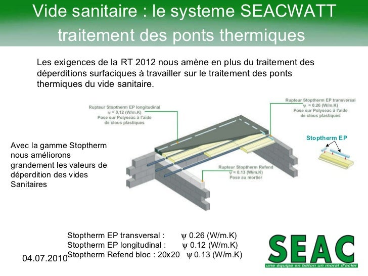 Rt2012 solutions sea cjuillet2011 for Hauteur vide sanitaire rt 2012