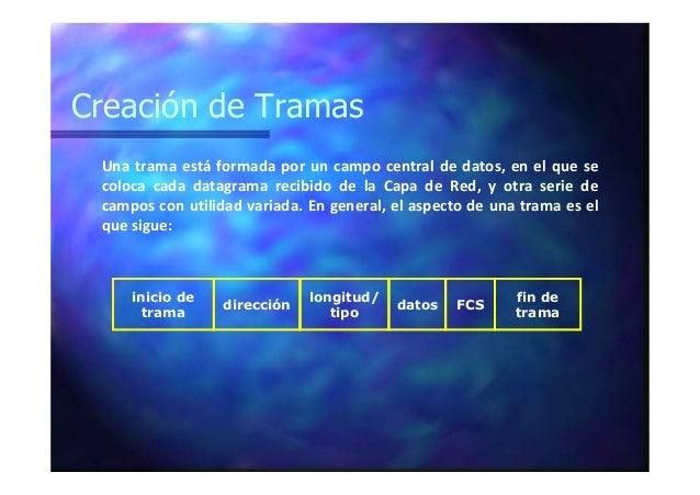 Creación de Tramas Una trama está formada por un campo central de datos, en el que se coloca cada datagrama recibido de la...