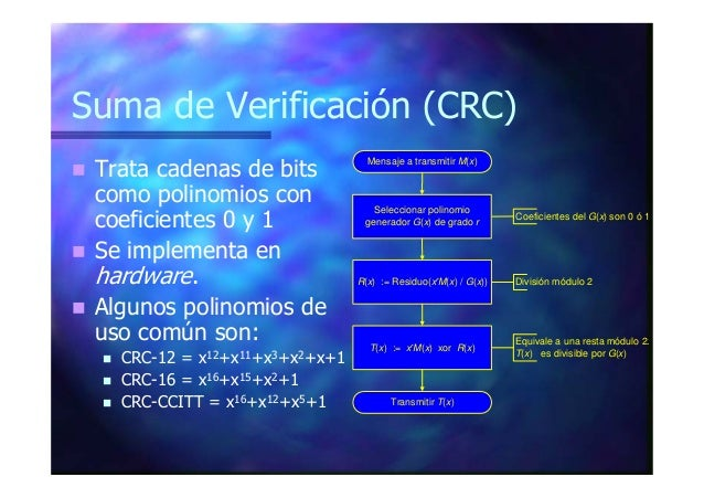 Suma de Verificación (CRC) Trata cadenas de bits como polinomios con coeficientes 0 y 1 Se implementa en hardware. Algunos...