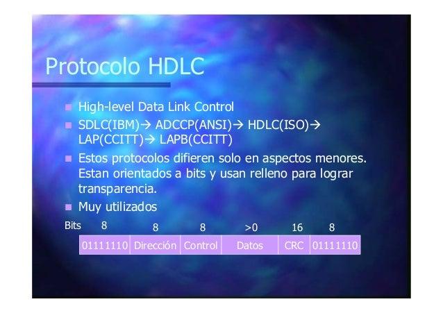 Protocolo HDLC High-level Data Link Control SDLC(IBM) ADCCP(ANSI) HDLC(ISO) LAP(CCITT) LAPB(CCITT) Estos protocolos difier...