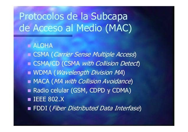 Protocolos de la Subcapa de Acceso al Medio (MAC) ALOHA CSMA (Carrier Sense Multiple Access) CSMA/CD (CSMA with Collision ...