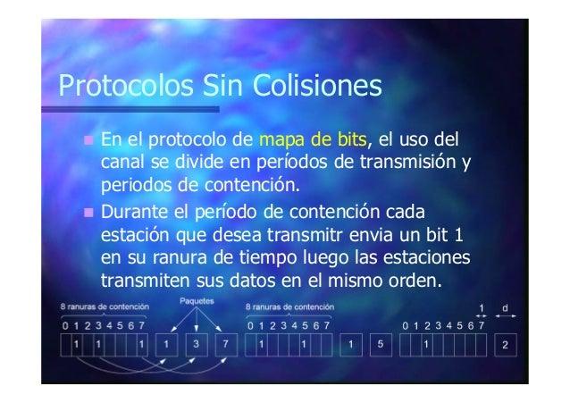 Protocolos Sin Colisiones En el protocolo conteo descendente, todas las estaciones transmiten su dirección simultáneamente...