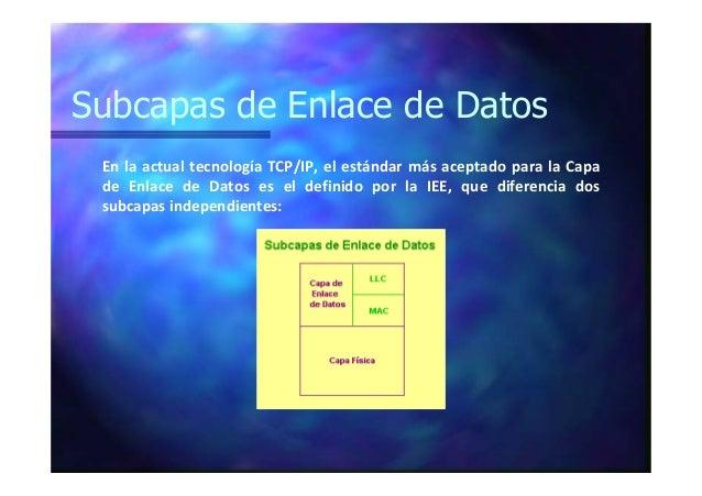 Subcapas de Enlace de Datos En la actual tecnología TCP/IP, el estándar más aceptado para la Capa de Enlace de Datos es el...