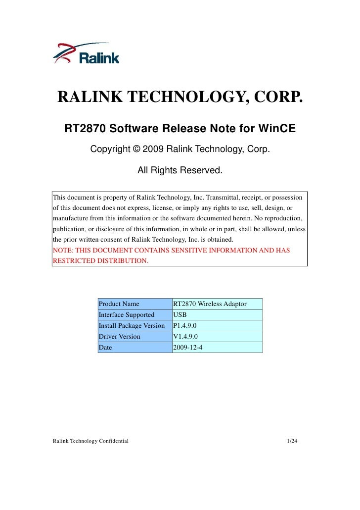 Rt2870 Software Release Note For Windows Ce