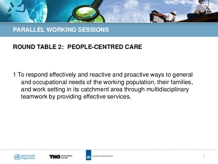 PARALLEL WORKING SESSIONSROUND TABLE 2: PEOPLE-CENTRED CARE1 To respond effectively and reactive and proactive ways to gen...