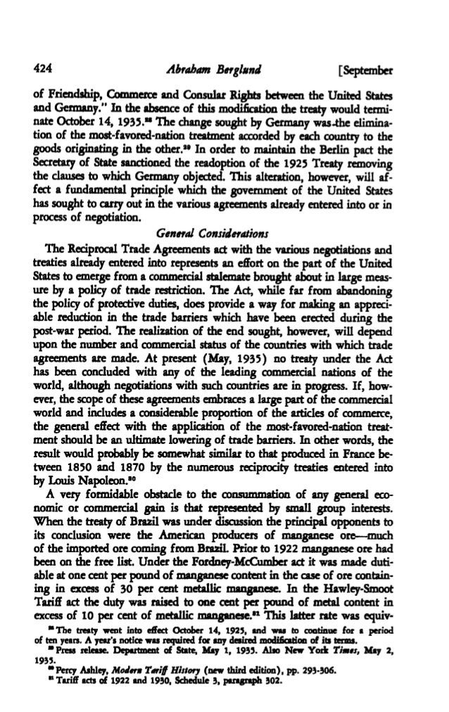 The Reciprocal Trade Agreements Act Of 1934 The American Economic R