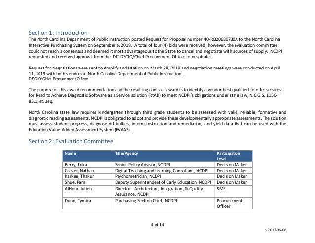 DPI documents on literacy assessment vendor pick