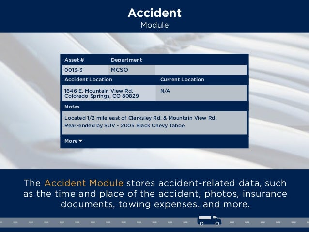 Accident Module The Accident Module stores accident-related data, such as the time and place of the accident, photos, insu...