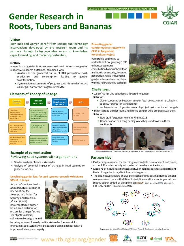 CGIAR is a global research partnership for a food secure future  Gender Research in Roots, Tubers and Bananas Vision Both ...