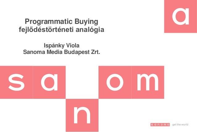 Programmatic Buying fejlődéstörténeti analógia Ispánky Viola Sanoma Media Budapest Zrt.