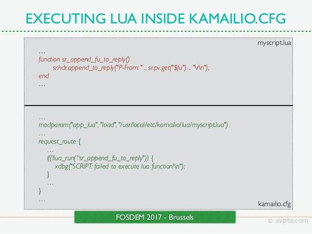 FOSDEM 2017 - RTC Services With Lua and Kamailio