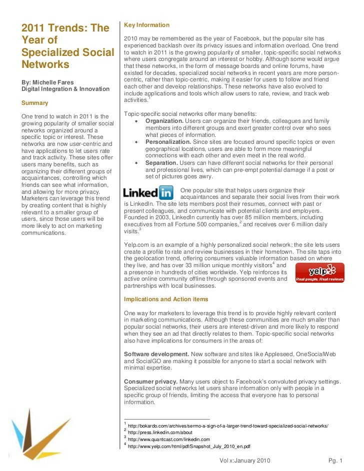2011 Trends: The Year of Specialized Social Networks<br />By: Michelle Fares<br />Digital Integration & Innovation<br /><u...