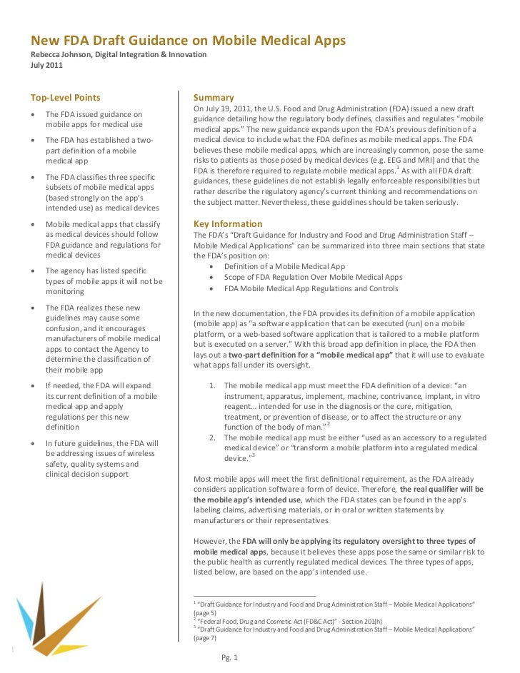 New FDA Draft Guidance on Mobile Medical AppsRebecca Johnson, Digital Integration & InnovationJuly 2011Top-Level Points   ...