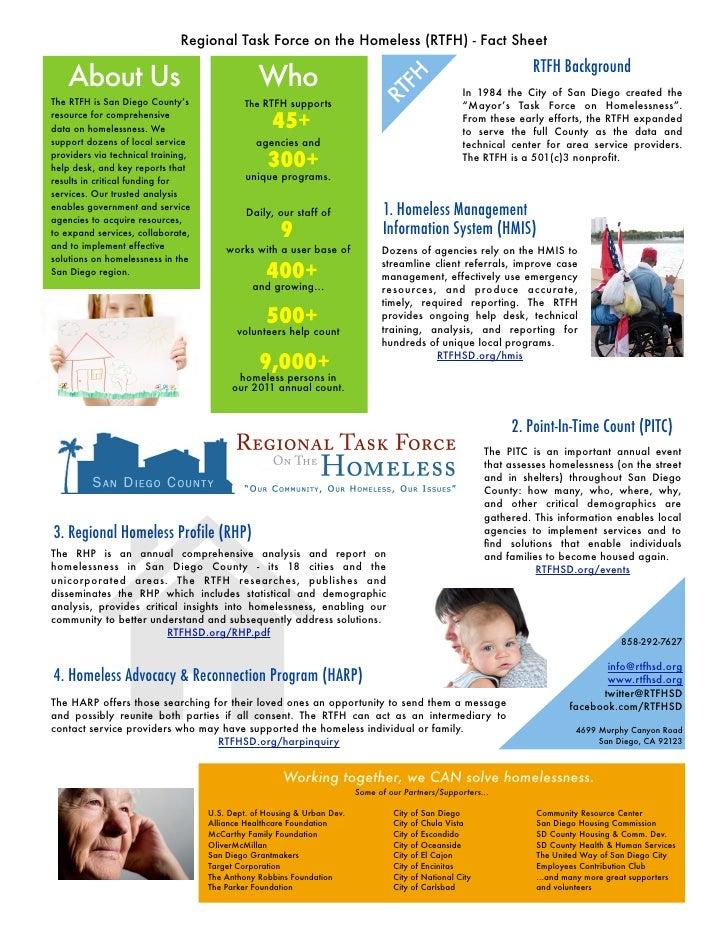 Regional Task Force on the Homeless (RTFH) - Fact Sheet                                                                   ...