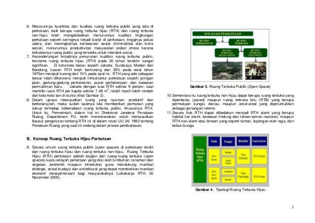 6. Menurunnya kuantitas dan kualitas ruang terbuka publik yang ada di   perkotaan, baik berupa ruang terbuka hijau (RTH) d...