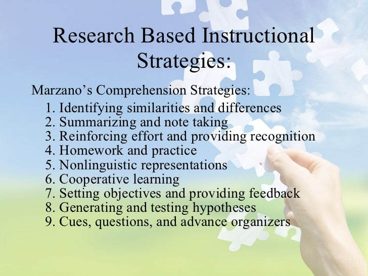 marzano instructional strategies list