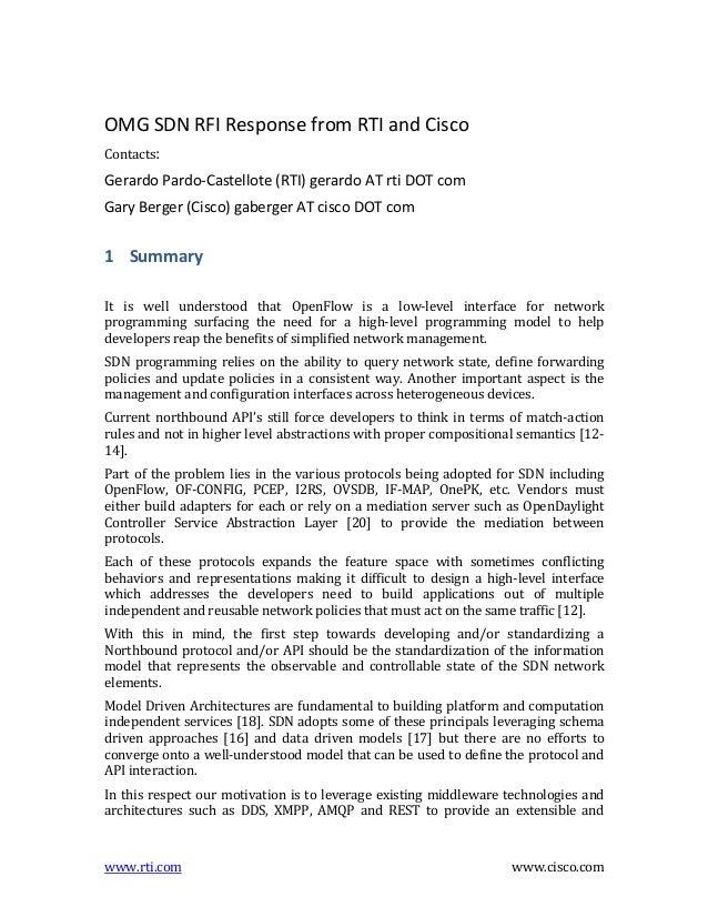OMG  SDN  RFI  Response  from  RTI  and  Cisco   Contacts:      Gerardo  Pardo-‐Castellote  (RTI)...