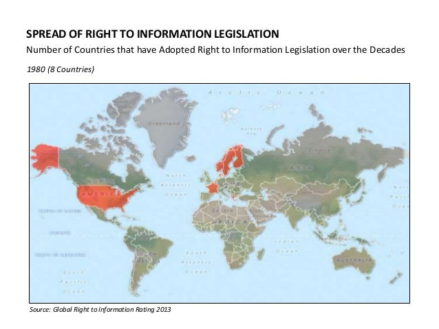 SPREAD OF RIGHT TO INFORMATION LEGISLATION Number of Countries that have Adopted Right to Information Legislation over the...