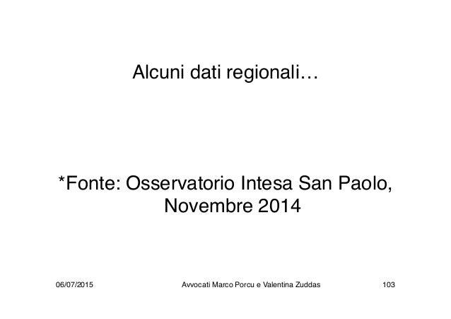 Alcuni dati regionali… *Fonte: Osservatorio Intesa San Paolo, Novembre 2014 06/07/2015 Avvocati Marco Porcu e Valentina Zu...