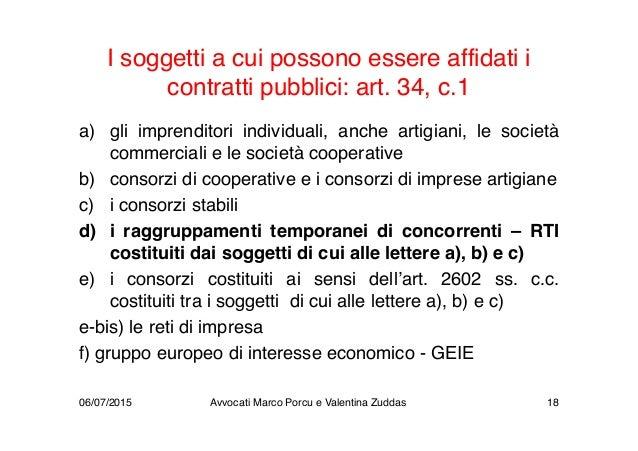I soggetti a cui possono essere affidati i contratti pubblici: art. 34, c.1 a) gli imprenditori individuali, anche artigia...