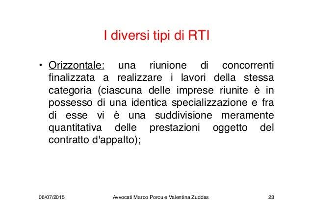 I diversi tipi di RTI • Orizzontale: una riunione di concorrenti finalizzata a realizzare i lavori della stessa categoria ...