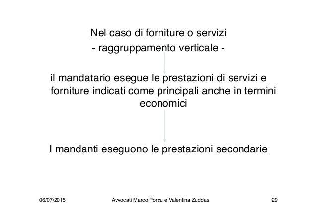 Nel caso di forniture o servizi - raggruppamento verticale - il mandatario esegue le prestazioni di servizi e forniture in...