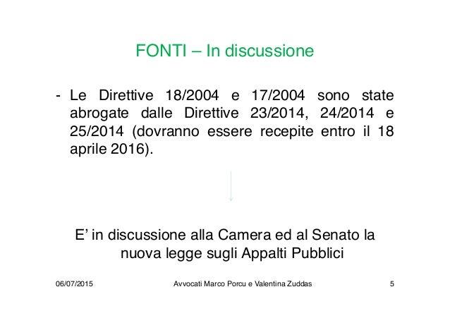 FONTI – In discussione - Le Direttive 18/2004 e 17/2004 sono state abrogate dalle Direttive 23/2014, 24/2014 e 25/2014 (do...