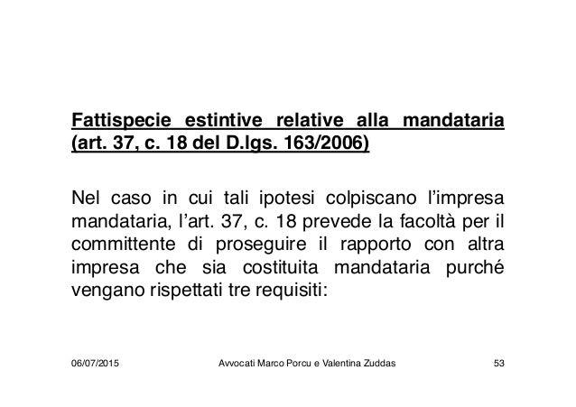 Fattispecie estintive relative alla mandataria (art. 37, c. 18 del D.lgs. 163/2006) Nel caso in cui tali ipotesi colpiscan...