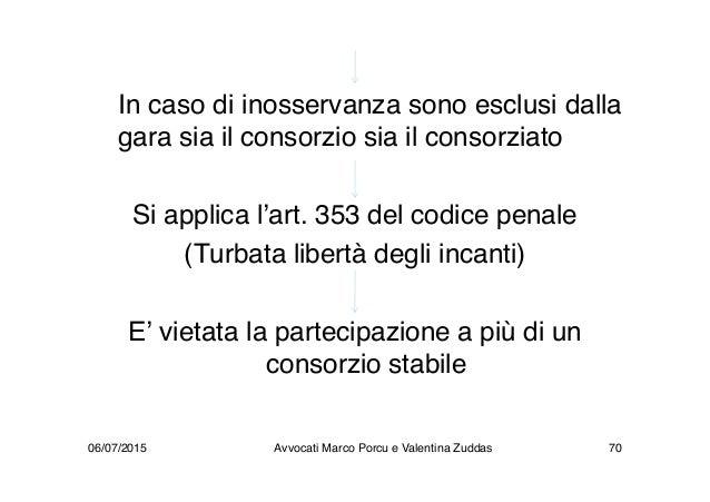 In caso di inosservanza sono esclusi dalla gara sia il consorzio sia il consorziato Si applica l'art. 353 del codice penal...