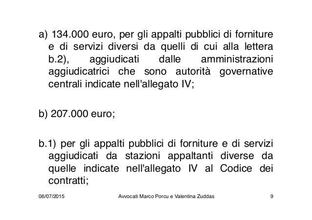a) 134.000 euro, per gli appalti pubblici di forniture e di servizi diversi da quelli di cui alla lettera b.2), aggiudicat...