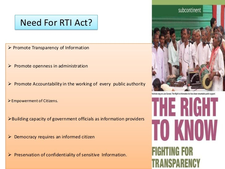 Importance of rti act in modern democracy