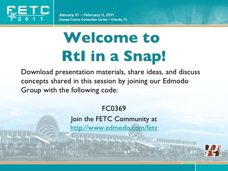 Welcome to  RtI in a Snap! Download presentation materials, share ideas, and discuss concepts shared in this session by jo...