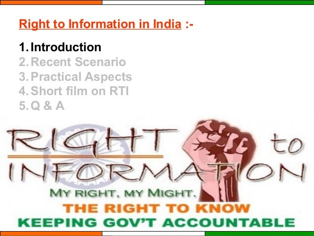 RIGHT TO INFORMATION IN INDIA Slide 3