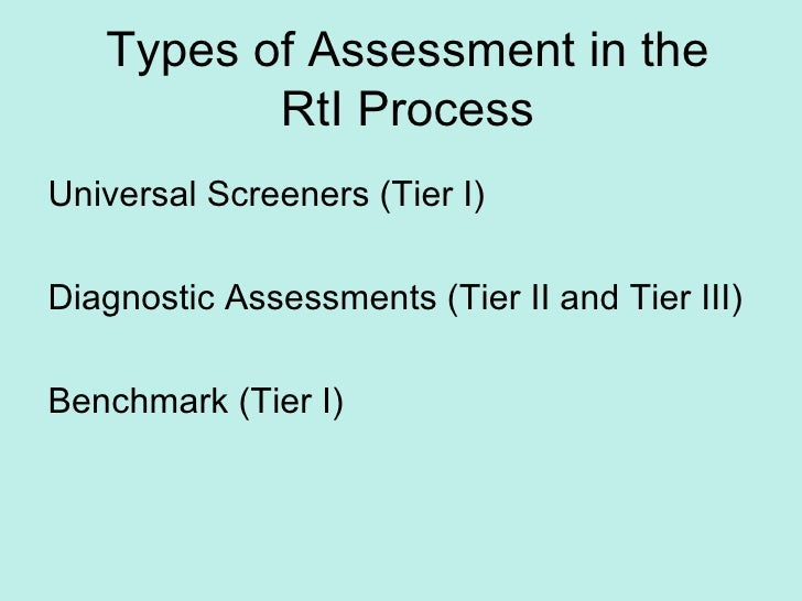 Types of Assessment in the RtI Process Universal Screeners (Tier I) Diagnostic Assessments (Tier II and Tier III) Benchmar...