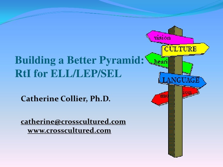 Building a Better Pyramid: RtI for ELL/LEP/SEL   Catherine Collier, Ph.D.   catherine@crosscultured.com    www.crosscultur...