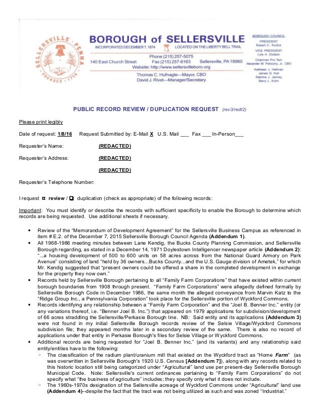 PUBLIC RECORD REVIEW / DUPLICATION REQUEST (rev3/redt2) Please print legibly Date of request: 1/8/16 Request Submitted by:...