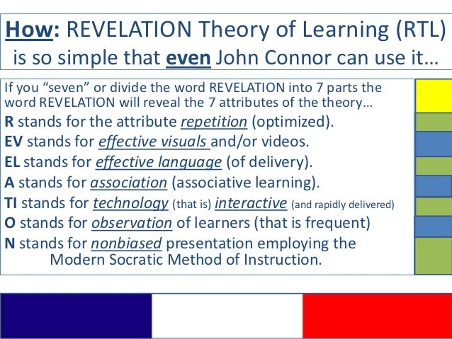 """How: REVELATION Theory of Learning (RTL) is so simple that even John Connor can use it…If you """"seven"""" or divide the word R..."""