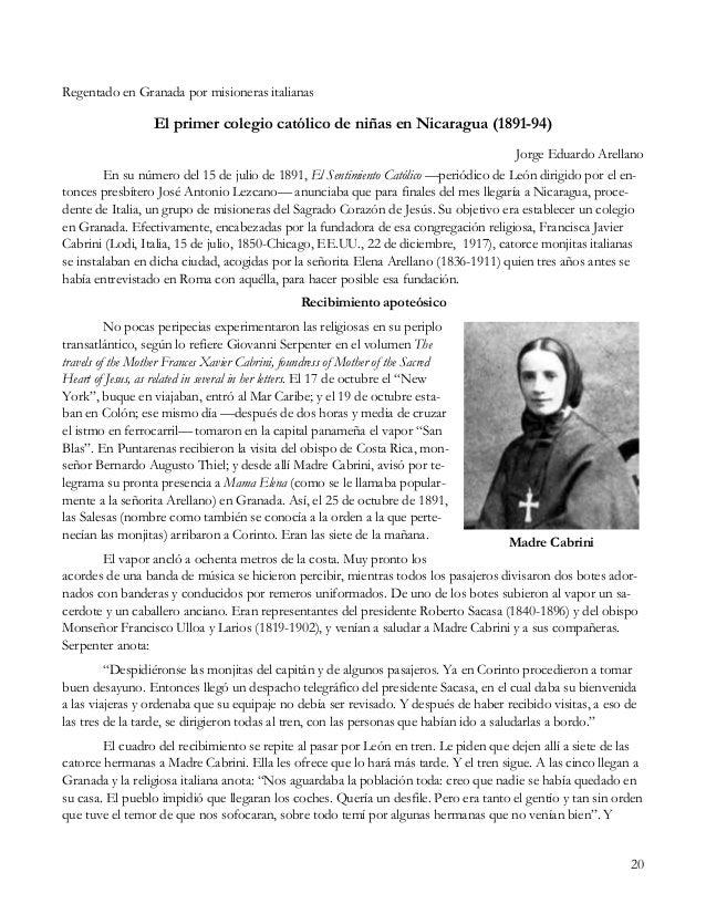 20 Regentado en Granada por misioneras italianas El primer colegio católico de niñas en Nicaragua (1891-94) Jorge Eduardo ...