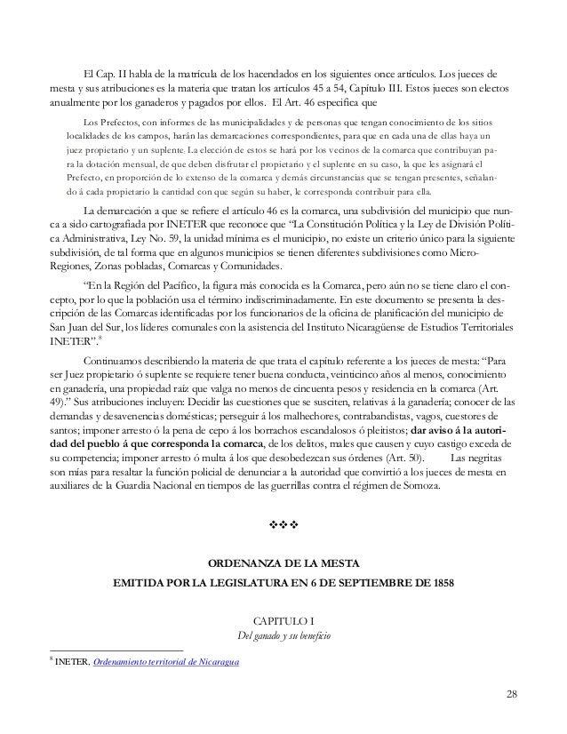 28 El Cap. II habla de la matrícula de los hacendados en los siguientes once artículos. Los jueces de mesta y sus atribuci...