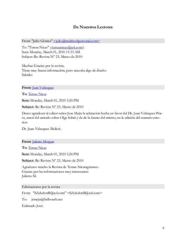 "4 De Nuestros Lectores From: ""Julio Gómez"" <julio@multiwebpersonal.com> To: ""Temas Nicas"" <temasnicas@aol.com> Sent: Monda..."