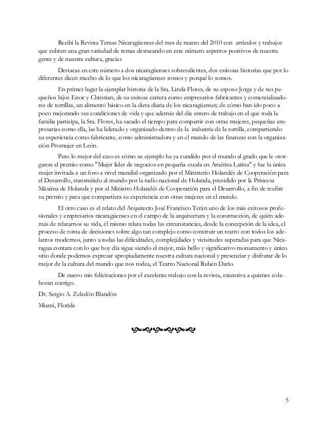 5 Recibí la Revista Temas Nicaragüenses del mes de marzo del 2010 con artículos y trabajos que cubren una gran variedad de...