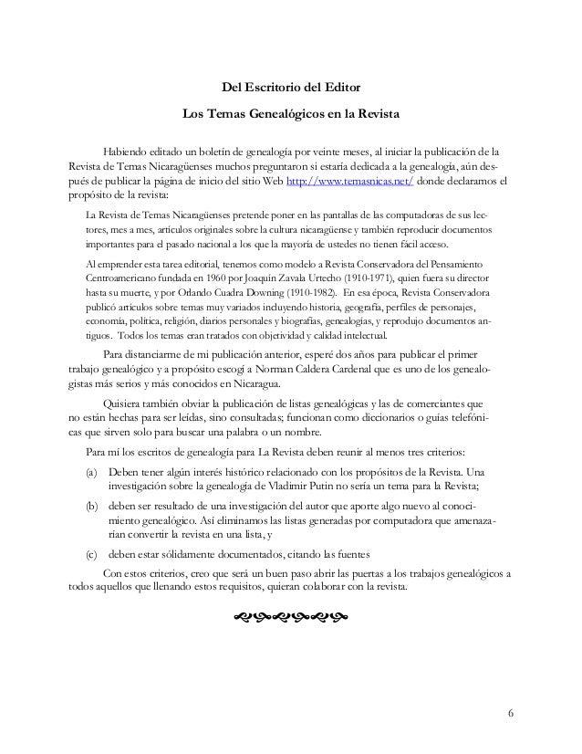 6 Del Escritorio del Editor Los Temas Genealógicos en la Revista Habiendo editado un boletín de genealogía por veinte mese...