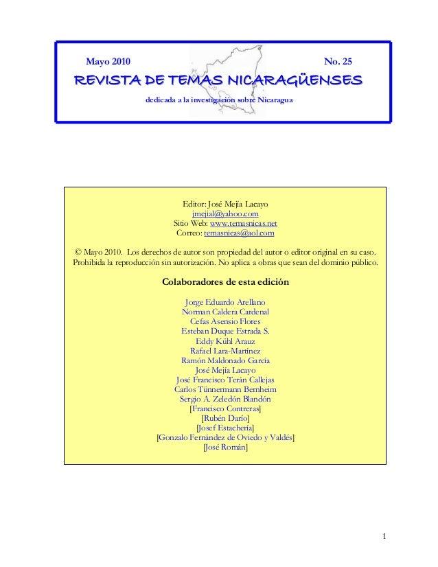 1 Mayo 2010 No. 25 RRREEEVVVIIISSSTTTAAA DDDEEE TTTEEEMMMAAASSS NNNIIICCCAAARRRAAAGGGÜÜÜEEENNNSSSEEESSS dedicada a la inve...
