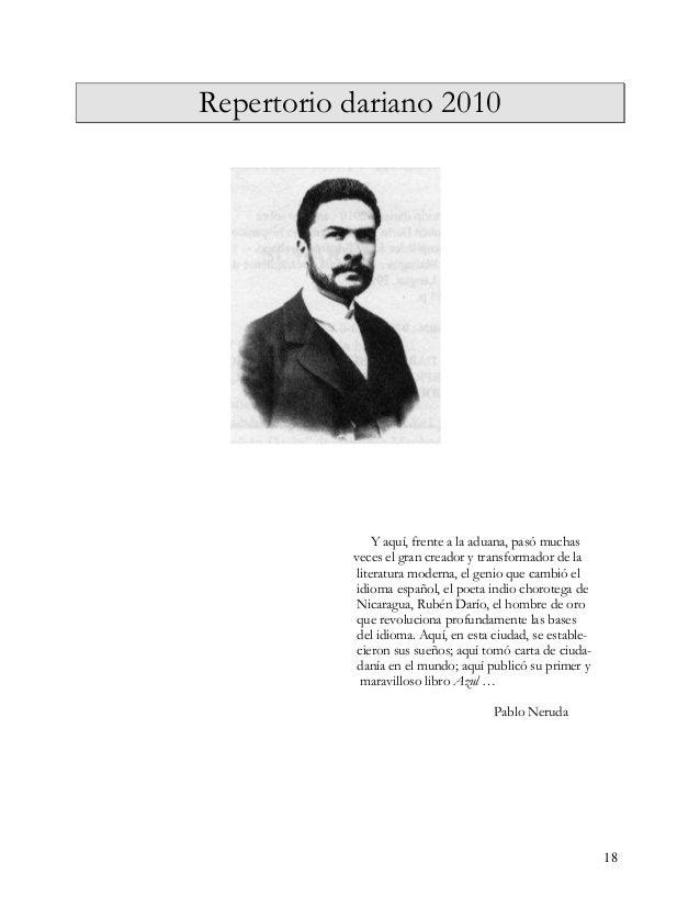 """19 """"Repertorio dariano 2010"""", es el nuevo aporte compilado por el Dr. D Jorge Eduardo Are- llano, un anuario en cuya visió..."""