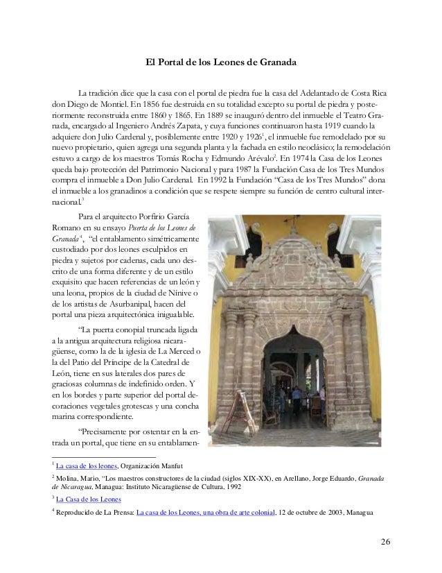 27 to arriba de los capiteles de sus columnas pareadas un par de leones esculpidos en piedra. Uno de ellos sujeto durante ...