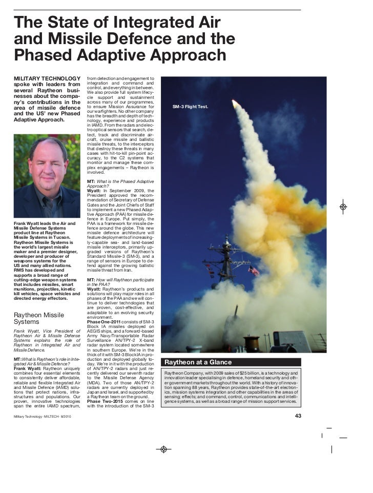 The State of Integrated Airand Missile Defence and thePhased Adaptive ApproachMILITARY TECHNOLOGY                      fro...
