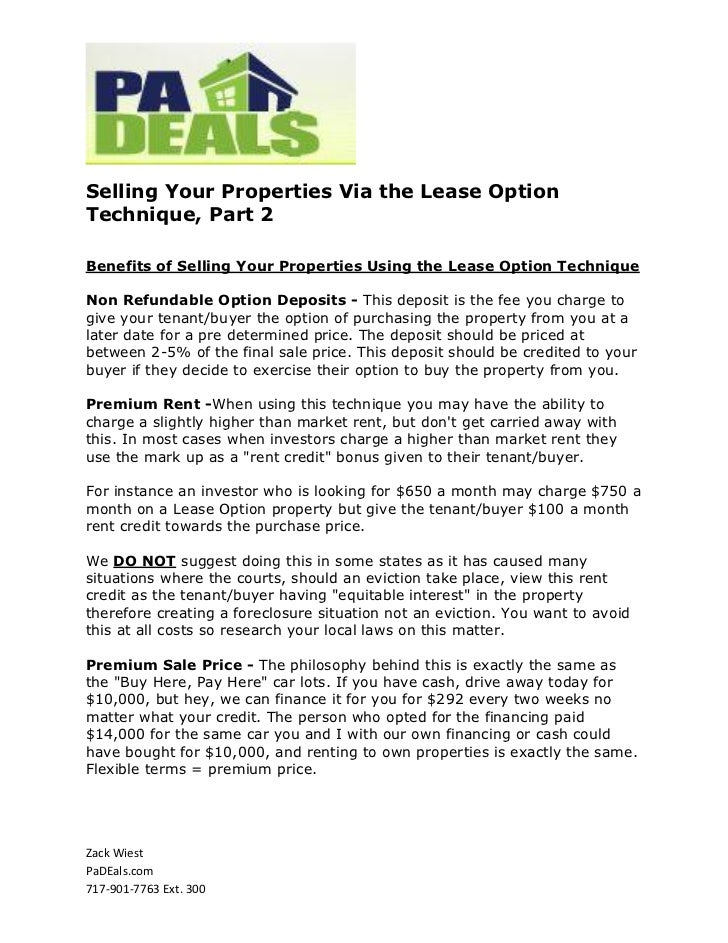 Selling Your Properties Via the Lease OptionTechnique, Part 2Benefits of Selling Your Properties Using the Lease Option Te...