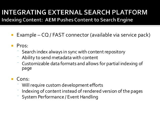   Handling initial content load & index creation  In case of content push approach, how will initial index be generated?...